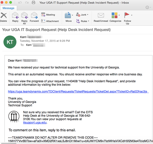 Superb This Is An Automatic Email Acknowledging Your Request Has Been Received.  The Email Subject Line Is: Your UGA IT Support Request (Help Desk Incident  Request) ... Images